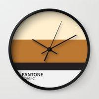 pantone Wall Clocks featuring pantone corgi by pixel.pwn | AK