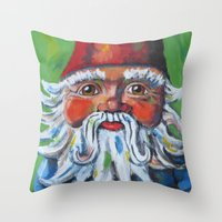 gnome Throw Pillows featuring Garden Gnome  by Juliette Caron