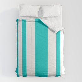 Mixed Vertical Stripes - White and Cyan Comforters