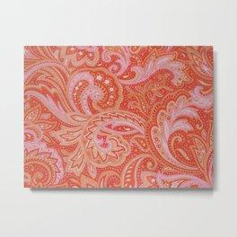 RED & PINK PAISLEY Metal Print