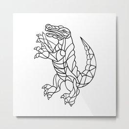 Alligator Prancing Mosaic Black and White Metal Print
