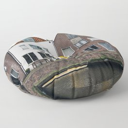 Row houses and Canal in The Netherlands Floor Pillow