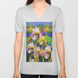 BLUE YELLOW IRIS GARDEN REFLECTION Unisex V-Neck