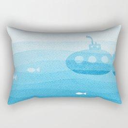 submarine, blue watercolor Rectangular Pillow