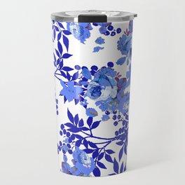 BLUE AND WHITE ROSE LEAF TOILE PATTERN Travel Mug