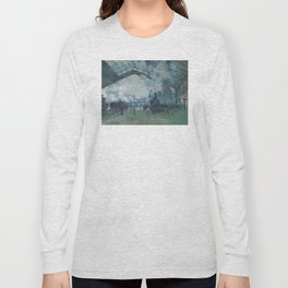 Claude Monet - Arrival of the Normandy Train Long Sleeve T-shirt