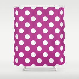 Fandango - violet - White Polka Dots - Pois Pattern Shower Curtain