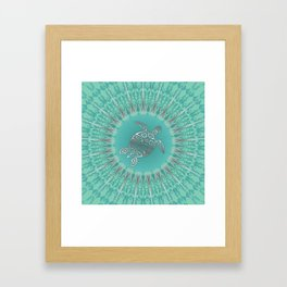Turquoise Silver Turtle And Mandala Framed Art Print