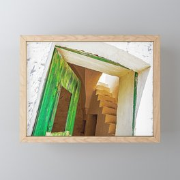 Wood green door in the countryside of Salento, Italy Framed Mini Art Print