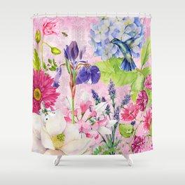 English Garden pink Shower Curtain