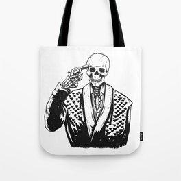 Suicide skeleton illustration Tote Bag