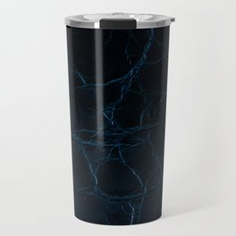 Dark blue leather texture abstract Travel Mug