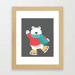 Polar Bear Go Skiing for Merry Christmas Framed Art Print