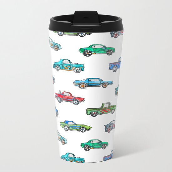Little Toy Cars in Watercolor on White Metal Travel Mug