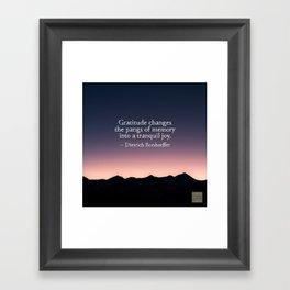 Gratitude and tranquil joy Framed Art Print