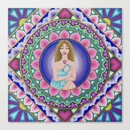 Mother and Child Lotus Mandala Canvas Print