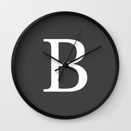 Very Dark Gray Basic Monogram B Wall Clock