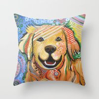 Throw Pillows featuring Max ... Abstract dog art, Golden Retriever by Amy Giacomelli