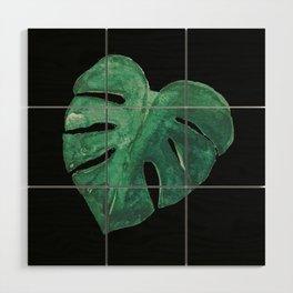 Monstera Leaf on Black Wood Wall Art