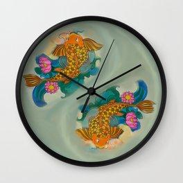 Yin yang art with fishes// Eternal love Wall Clock