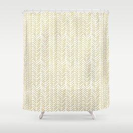 Handpainted Chevron Pattern - Gold and white Shower Curtain