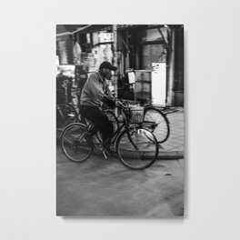 Asakusa Night Bike Metal Print