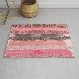 Girly Chic Pink Coral Paint Glitter Brushstrokes Rug