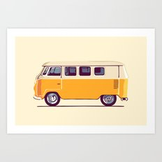 Yellow Camper Van Art Print