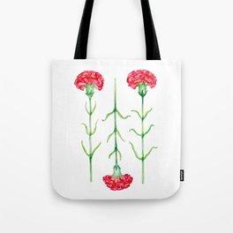 Carnations flowers watercolor art Tote Bag