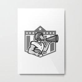 American Football Bullhorn Shield Grayscale Metal Print