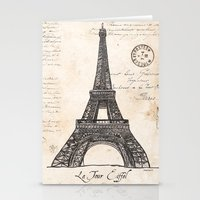 eiffel tower Stationery Cards featuring Eiffel Tower by Debbie DeWitt