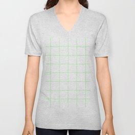 Graph Paper (Light Green & White Pattern) Unisex V-Neck
