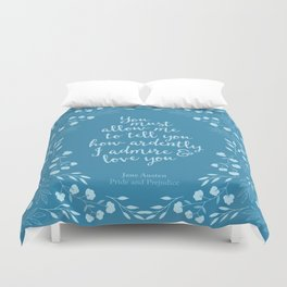 Jane Austen Pride and Prejudice Quote Duvet Cover