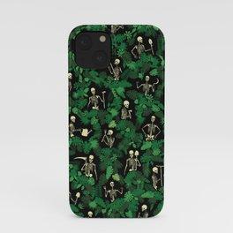 Garden Of Lost Souls Goth Gardener Skeleton Pattern iPhone Case