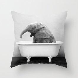 Baby Elephant Taking A Bath Throw Pillow
