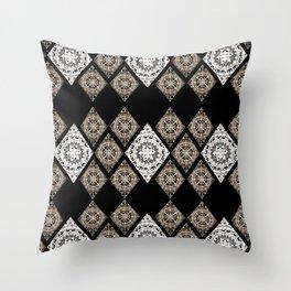 Rose-Gold and Metallic White Mandala Diamonds Textile Throw Pillow