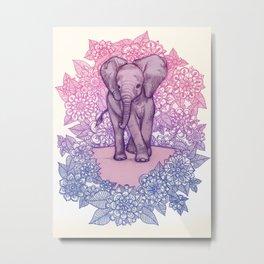 Cute Baby Elephant in pink, purple & blue Metal Print