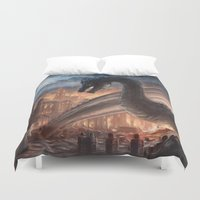 skyrim Duvet Covers featuring Elegy of Fire by Liancary