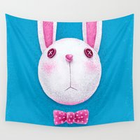 rabbit Wall Tapestries featuring Rabbit by Lime