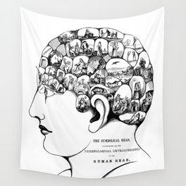 Phrenology symbolic head, psychology, psychiatry psychoanalysis Wall Tapestry