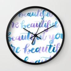 You are Beautiful Watercolor Wall Clock