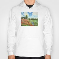 monet Hoodies featuring Claude Monet - Poppy Field at Argenteuil by Elegant Chaos Gallery