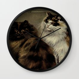 Vintage Painting of Fluffy Cats (1902) Wall Clock