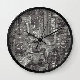 new york 2 black white Wall Clock