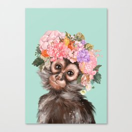 Baby Monkey with Flower Crown Canvas Print