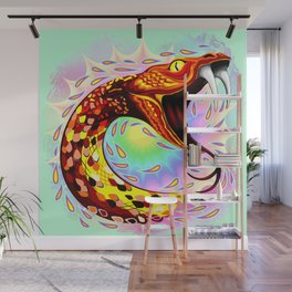 Snake Attack Psychedelic Art Wall Mural
