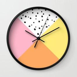 Pink and Yellow Polka Dots Wall Clock