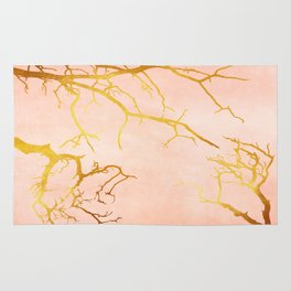 Golden Tree Branches on an Ocher and Pink Textured Metal Rug