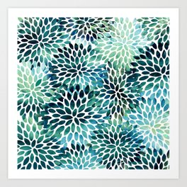 Floral Watercolor, Navy, Blue Teal, Abstract Watercolor Art Print