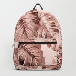 Rose Gold Monstera Leaves on Blush Pink 2 Backpack